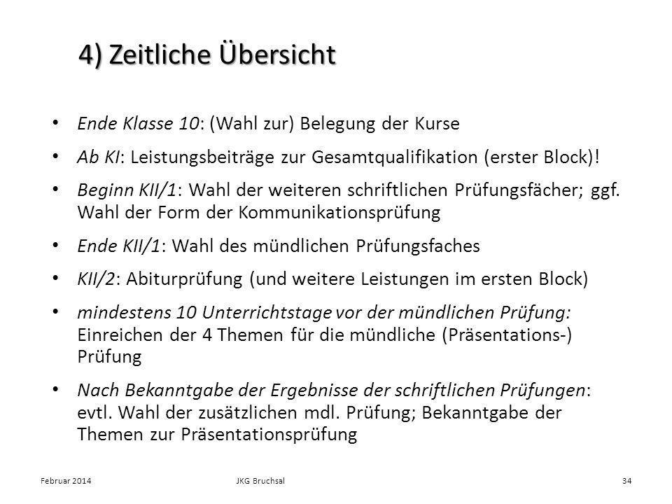 4) Zeitliche Übersicht Ende Klasse 10: (Wahl zur) Belegung der Kurse Ab KI: Leistungsbeiträge zur Gesamtqualifikation (erster Block)! Beginn KII/1: Wa