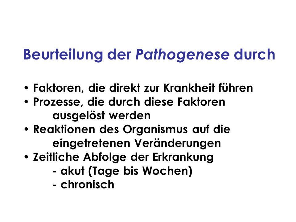 Beurteilung der Pathogenese durch Faktoren, die direkt zur Krankheit führen Prozesse, die durch diese Faktoren ausgelöst werden Reaktionen des Organis