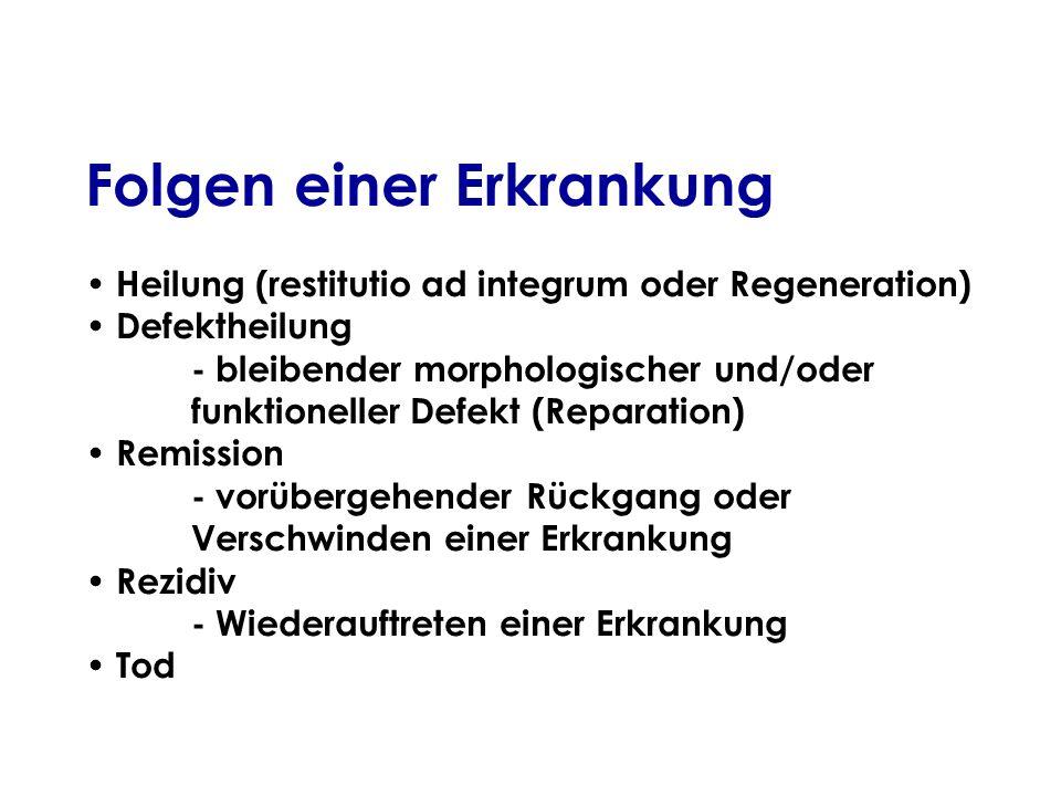 Folgen einer Erkrankung Heilung (restitutio ad integrum oder Regeneration) Defektheilung - bleibender morphologischer und/oder funktioneller Defekt (R