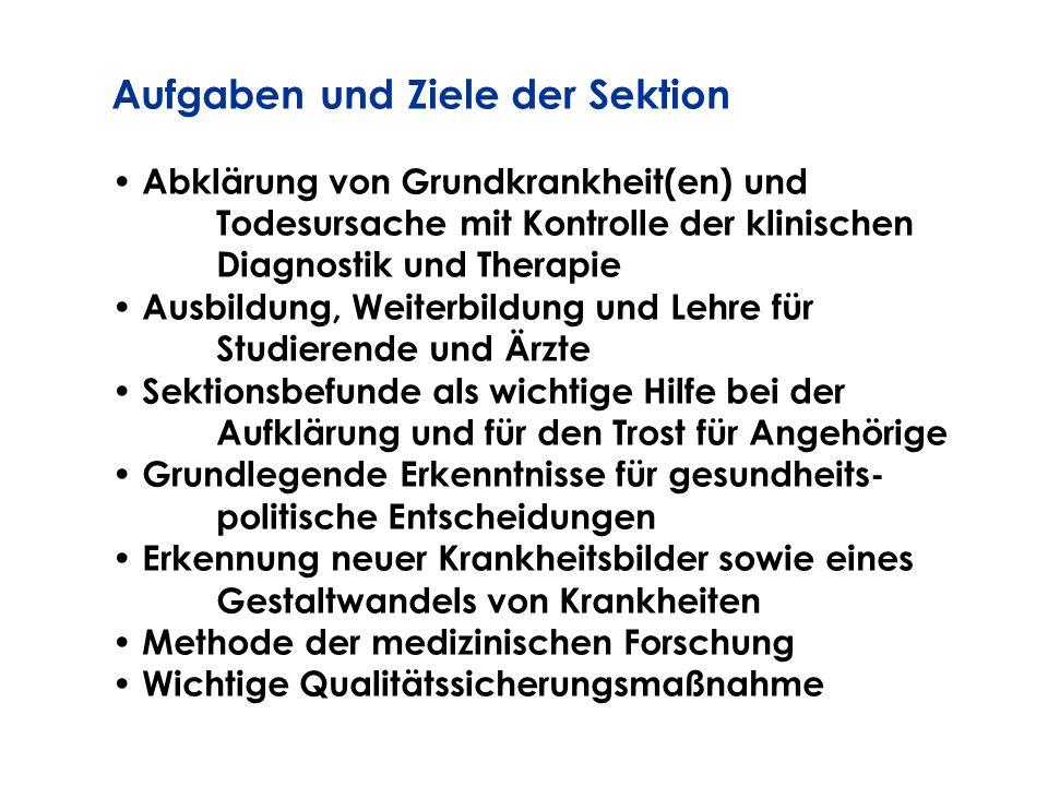Aufgaben und Ziele der Sektion Abklärung von Grundkrankheit(en) und Todesursache mit Kontrolle der klinischen Diagnostik und Therapie Ausbildung, Weit