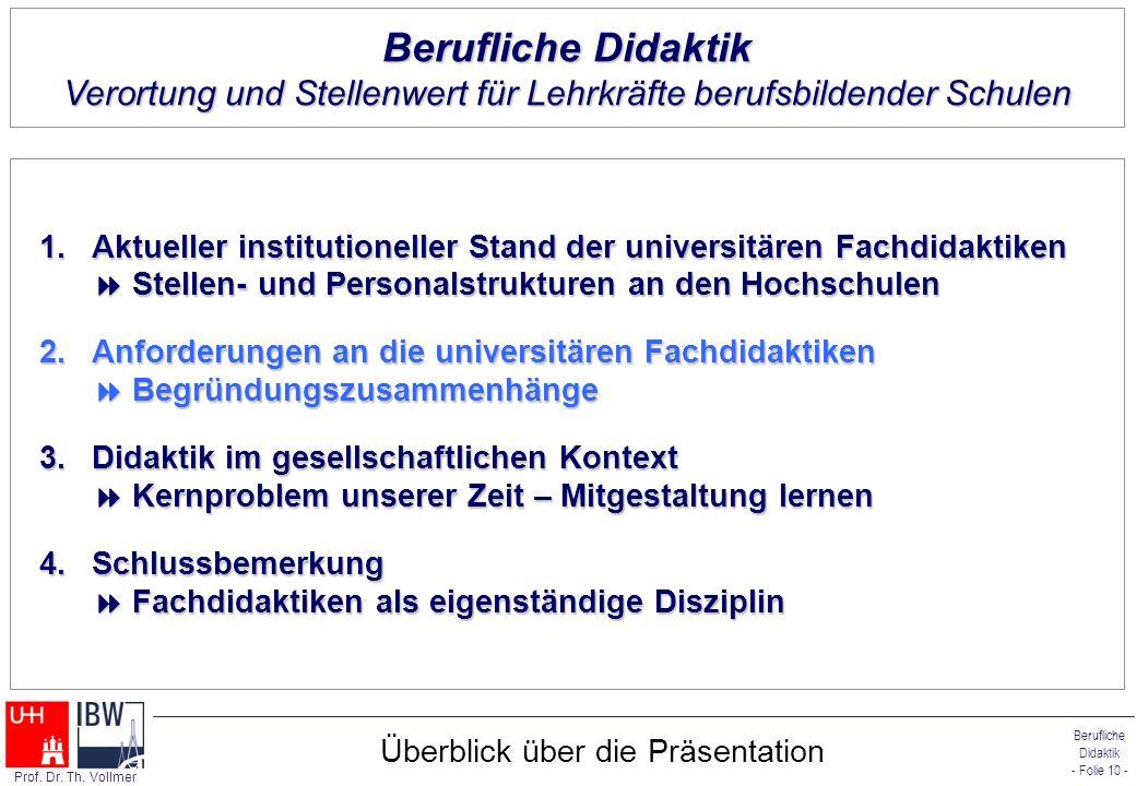 Berufliche Didaktik - Folie 10 - Prof. Dr. Th. Vollmer Überblick über die Präsentation 1.Aktueller institutioneller Stand der universitären Fachdidakt