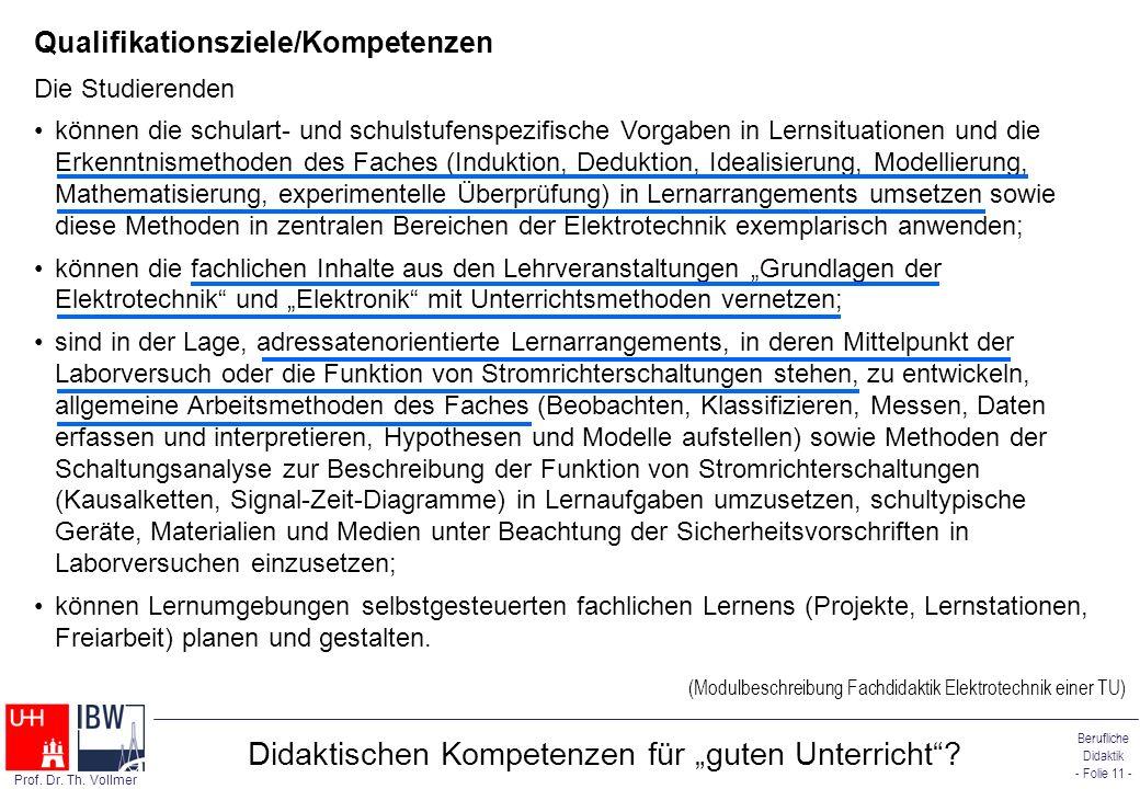 Berufliche Didaktik - Folie 11 - Prof. Dr. Th. Vollmer Didaktischen Kompetenzen für guten Unterricht? Qualifikationsziele/Kompetenzen Die Studierenden