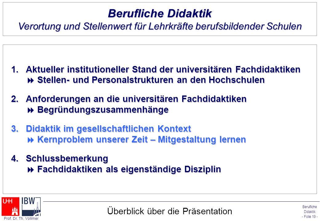 Berufliche Didaktik - Folie 19 - Prof. Dr. Th. Vollmer Überblick über die Präsentation 1.Aktueller institutioneller Stand der universitären Fachdidakt