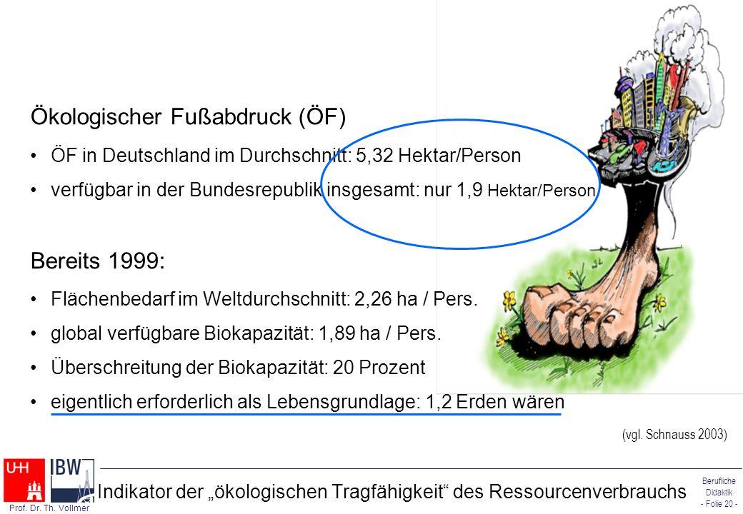 Berufliche Didaktik - Folie 20 - Prof. Dr. Th. Vollmer Indikator der ökologischen Tragfähigkeit des Ressourcenverbrauchs Ökologischer Fußabdruck (ÖF)