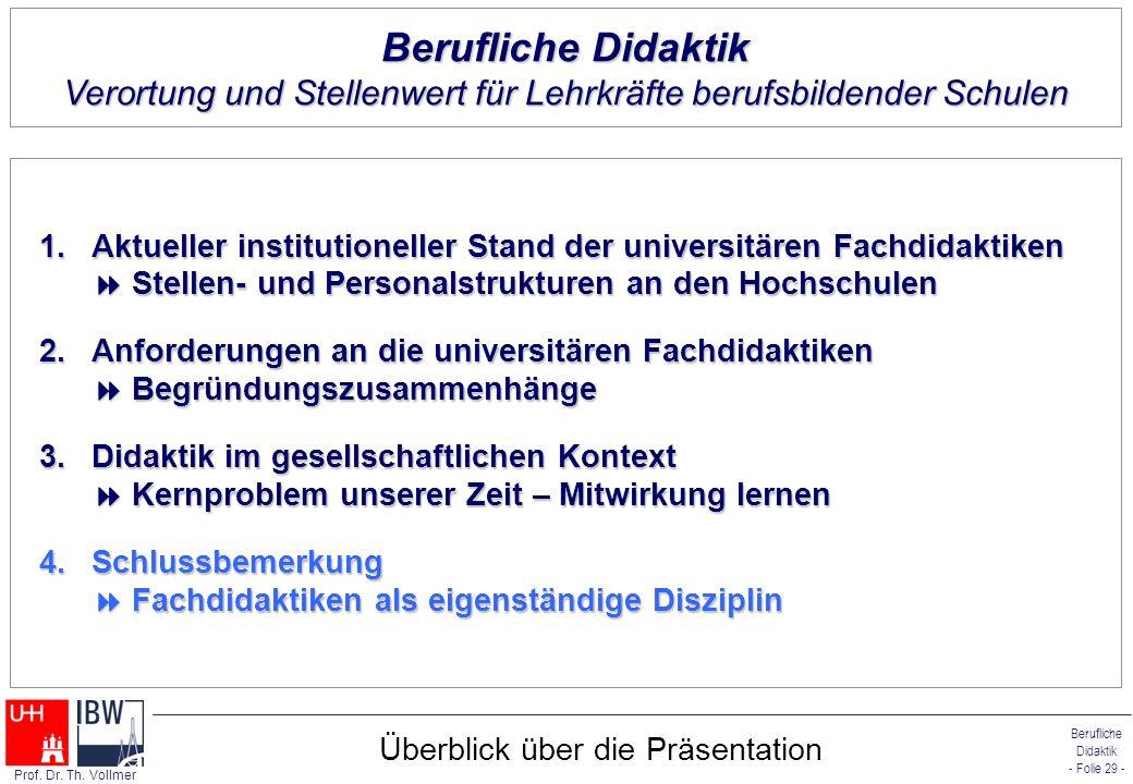 Berufliche Didaktik - Folie 29 - Prof. Dr. Th. Vollmer Überblick über die Präsentation 1.Aktueller institutioneller Stand der universitären Fachdidakt