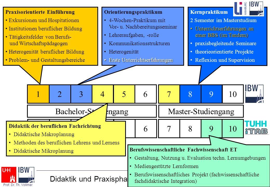 Berufliche Didaktik - Folie 33 - Prof. Dr. Th. Vollmer Didaktik und Praxisphasen im Hamburger LBS-Studium 123456 91078 Berufswissenschaftliche Fachwis