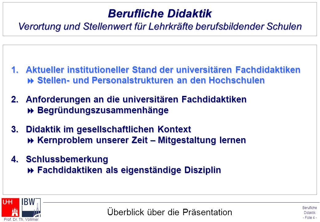 Berufliche Didaktik - Folie 4 - Prof. Dr. Th. Vollmer Überblick über die Präsentation 1.Aktueller institutioneller Stand der universitären Fachdidakti