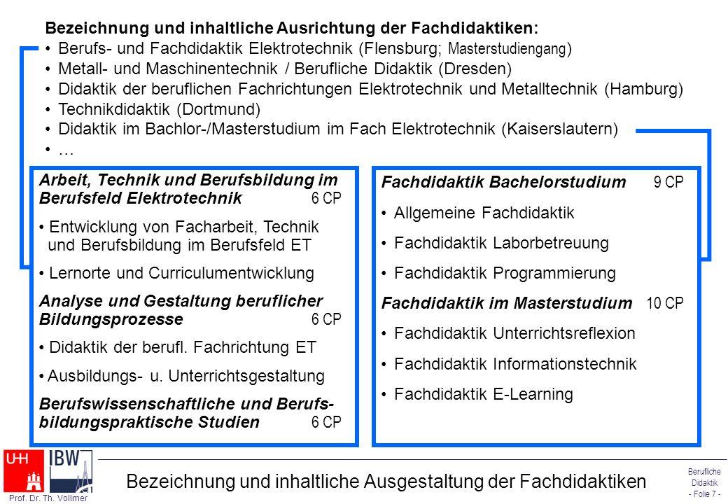 Berufliche Didaktik - Folie 7 - Prof. Dr. Th. Vollmer Bezeichnung und inhaltliche Ausgestaltung der Fachdidaktiken Bezeichnung und inhaltliche Ausrich