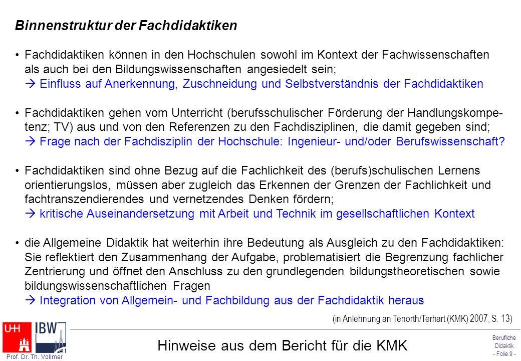 Berufliche Didaktik - Folie 9 - Prof. Dr. Th. Vollmer Hinweise aus dem Bericht für die KMK Binnenstruktur der Fachdidaktiken (in Anlehnung an Tenorth/