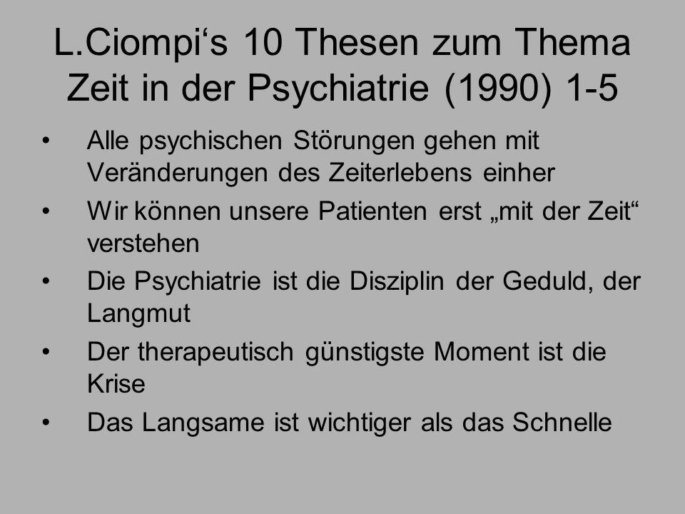 L.Ciompis 10 Thesen zum Thema Zeit in der Psychiatrie (1990) 1-5 Alle psychischen Störungen gehen mit Veränderungen des Zeiterlebens einher Wir können unsere Patienten erst mit der Zeit verstehen Die Psychiatrie ist die Disziplin der Geduld, der Langmut Der therapeutisch günstigste Moment ist die Krise Das Langsame ist wichtiger als das Schnelle