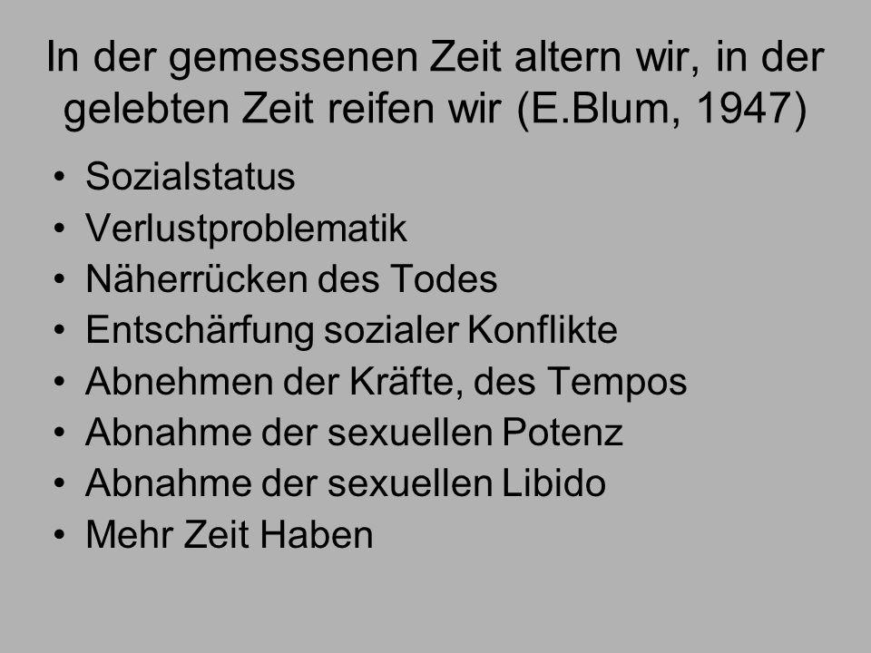 In der gemessenen Zeit altern wir, in der gelebten Zeit reifen wir (E.Blum, 1947) Sozialstatus Verlustproblematik Näherrücken des Todes Entschärfung sozialer Konflikte Abnehmen der Kräfte, des Tempos Abnahme der sexuellen Potenz Abnahme der sexuellen Libido Mehr Zeit Haben