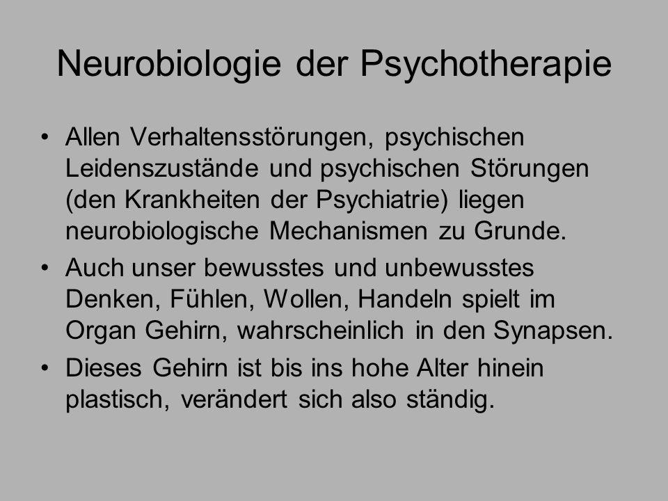 Neurobiologie der Psychotherapie Allen Verhaltensstörungen, psychischen Leidenszustände und psychischen Störungen (den Krankheiten der Psychiatrie) liegen neurobiologische Mechanismen zu Grunde.