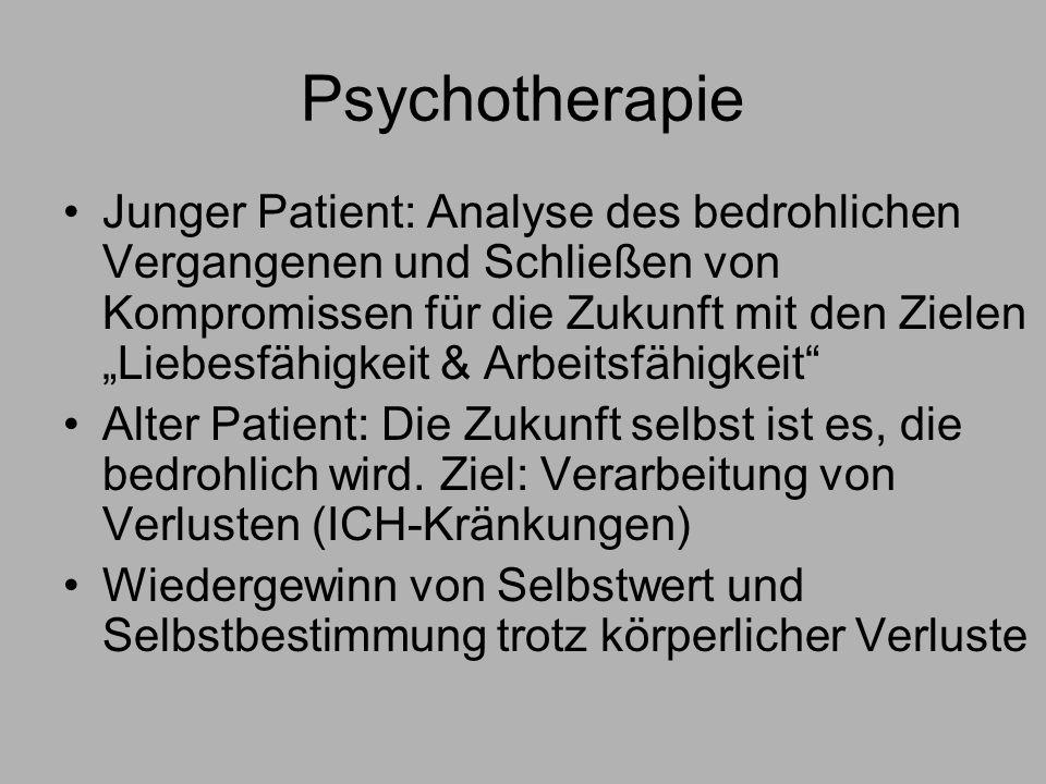 Psychotherapie Junger Patient: Analyse des bedrohlichen Vergangenen und Schließen von Kompromissen für die Zukunft mit den Zielen Liebesfähigkeit & Arbeitsfähigkeit Alter Patient: Die Zukunft selbst ist es, die bedrohlich wird.