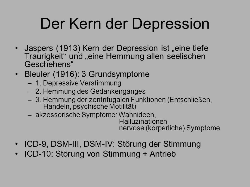 Der Kern der Depression Jaspers (1913) Kern der Depression ist eine tiefe Traurigkeit und eine Hemmung allen seelischen Geschehens Bleuler (1916): 3 Grundsymptome –1.