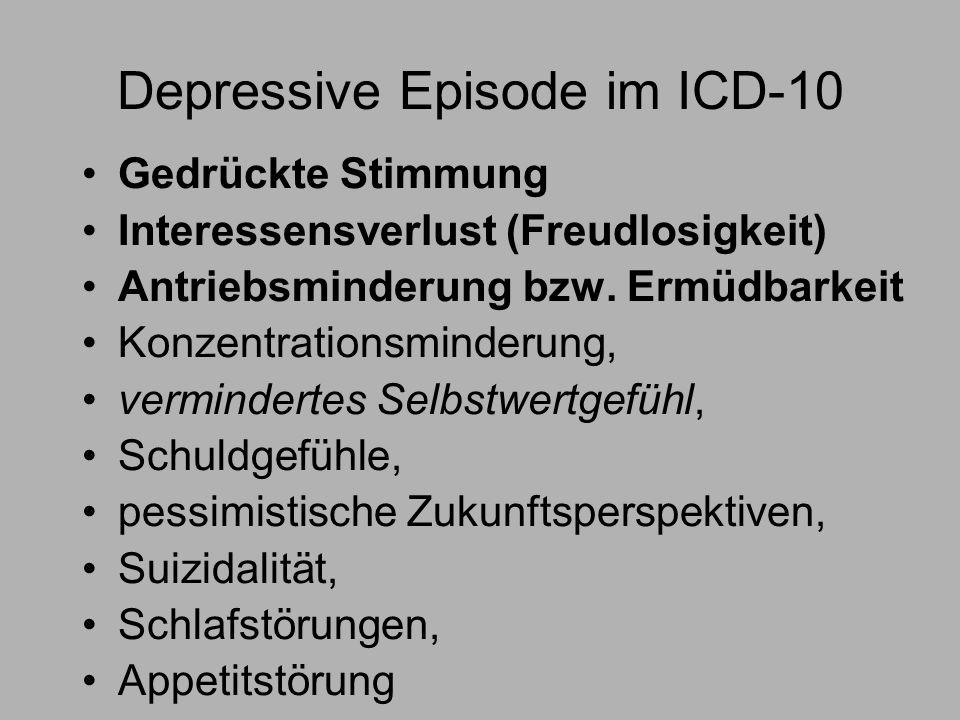 Depressive Episode im ICD-10 Gedrückte Stimmung Interessensverlust (Freudlosigkeit) Antriebsminderung bzw.