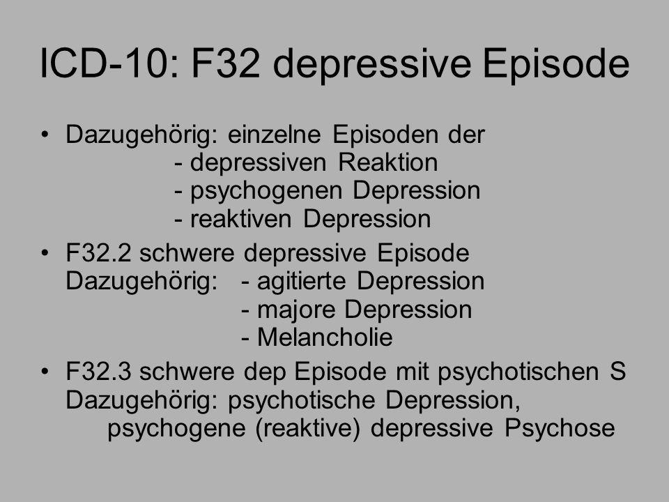 ICD-10: F32 depressive Episode Dazugehörig: einzelne Episoden der - depressiven Reaktion - psychogenen Depression - reaktiven Depression F32.2 schwere depressive Episode Dazugehörig:- agitierte Depression - majore Depression - Melancholie F32.3 schwere dep Episode mit psychotischen S Dazugehörig: psychotische Depression, psychogene (reaktive) depressive Psychose