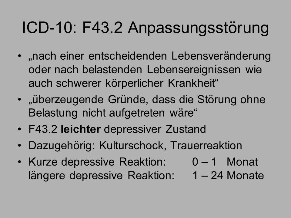 ICD-10: F43.2 Anpassungsstörung nach einer entscheidenden Lebensveränderung oder nach belastenden Lebensereignissen wie auch schwerer körperlicher Krankheit überzeugende Gründe, dass die Störung ohne Belastung nicht aufgetreten wäre F43.2 leichter depressiver Zustand Dazugehörig: Kulturschock, Trauerreaktion Kurze depressive Reaktion: 0 – 1 Monat längere depressive Reaktion: 1 – 24 Monate