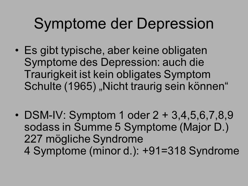 Symptome der Depression Es gibt typische, aber keine obligaten Symptome des Depression: auch die Traurigkeit ist kein obligates Symptom Schulte (1965) Nicht traurig sein können DSM-IV: Symptom 1 oder 2 + 3,4,5,6,7,8,9 sodass in Summe 5 Symptome (Major D.) 227 mögliche Syndrome 4 Symptome (minor d.): +91=318 Syndrome