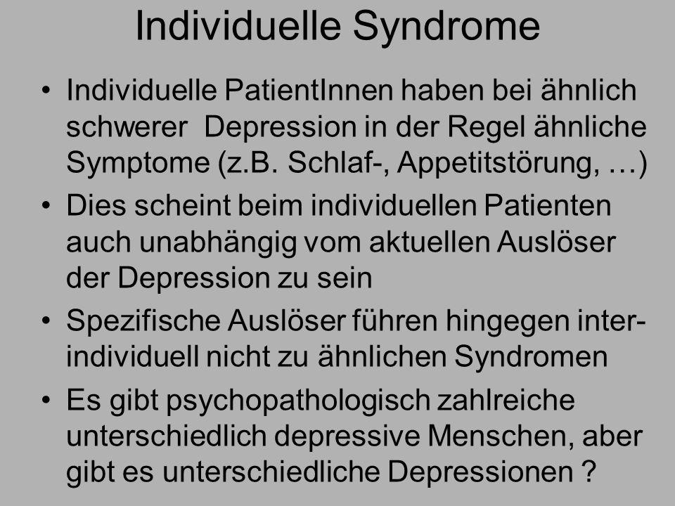 Individuelle Syndrome Individuelle PatientInnen haben bei ähnlich schwerer Depression in der Regel ähnliche Symptome (z.B.