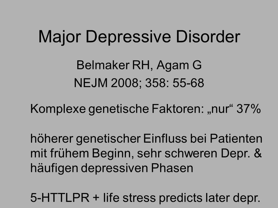Major Depressive Disorder Belmaker RH, Agam G NEJM 2008; 358: 55-68 Komplexe genetische Faktoren: nur 37% höherer genetischer Einfluss bei Patienten mit frühem Beginn, sehr schweren Depr.