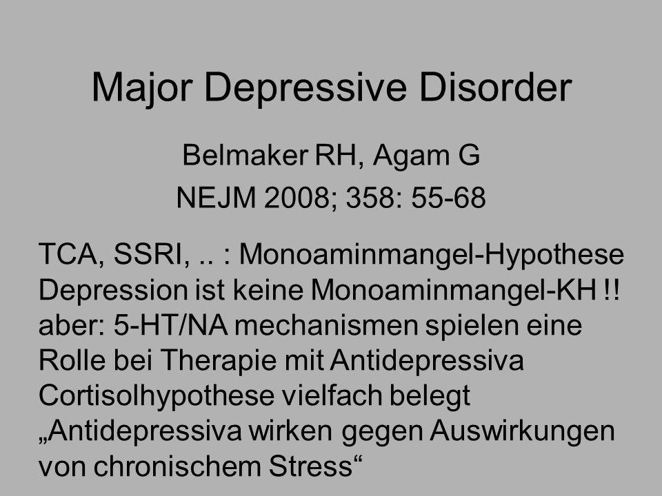 Major Depressive Disorder Belmaker RH, Agam G NEJM 2008; 358: 55-68 TCA, SSRI,..
