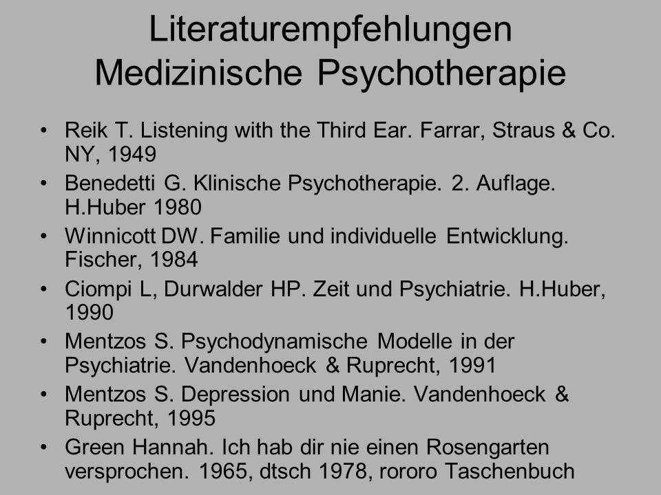 Literaturempfehlungen Medizinische Psychotherapie Reik T.