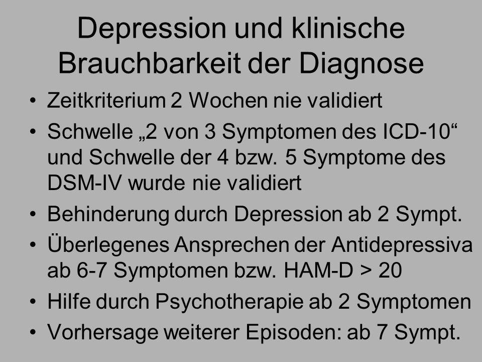 Depression und klinische Brauchbarkeit der Diagnose Zeitkriterium 2 Wochen nie validiert Schwelle 2 von 3 Symptomen des ICD-10 und Schwelle der 4 bzw.