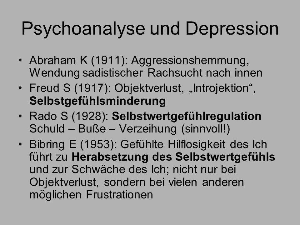 Psychoanalyse und Depression Abraham K (1911): Aggressionshemmung, Wendung sadistischer Rachsucht nach innen Freud S (1917): Objektverlust, Introjektion, Selbstgefühlsminderung Rado S (1928): Selbstwertgefühlregulation Schuld – Buße – Verzeihung (sinnvoll!) Bibring E (1953): Gefühlte Hilflosigkeit des Ich führt zu Herabsetzung des Selbstwertgefühls und zur Schwäche des Ich; nicht nur bei Objektverlust, sondern bei vielen anderen möglichen Frustrationen
