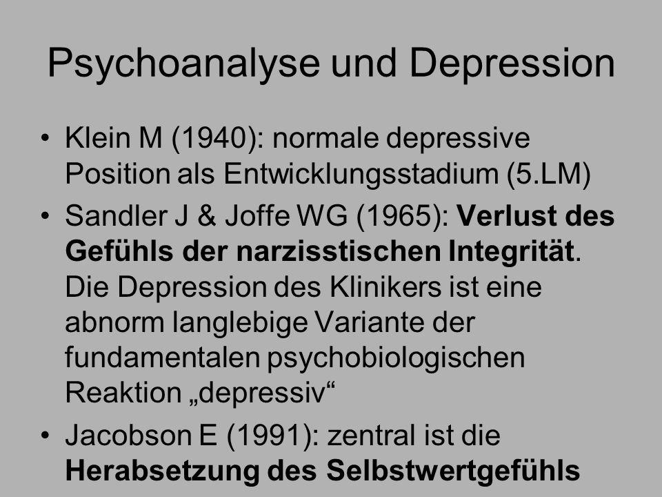 Psychoanalyse und Depression Klein M (1940): normale depressive Position als Entwicklungsstadium (5.LM) Sandler J & Joffe WG (1965): Verlust des Gefühls der narzisstischen Integrität.