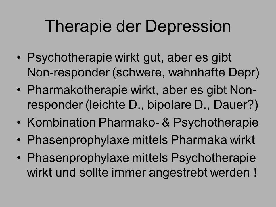 Therapie der Depression Psychotherapie wirkt gut, aber es gibt Non-responder (schwere, wahnhafte Depr) Pharmakotherapie wirkt, aber es gibt Non- responder (leichte D., bipolare D., Dauer?) Kombination Pharmako- & Psychotherapie Phasenprophylaxe mittels Pharmaka wirkt Phasenprophylaxe mittels Psychotherapie wirkt und sollte immer angestrebt werden !