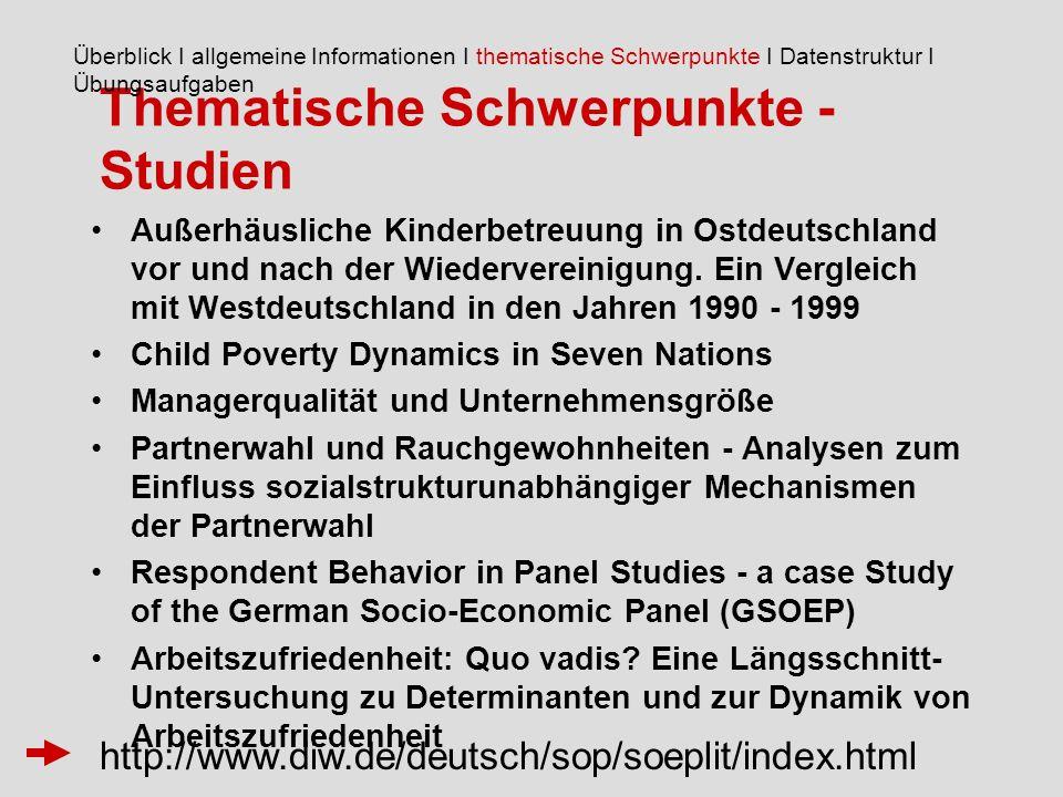 Thematische Schwerpunkte - Studien Außerhäusliche Kinderbetreuung in Ostdeutschland vor und nach der Wiedervereinigung.