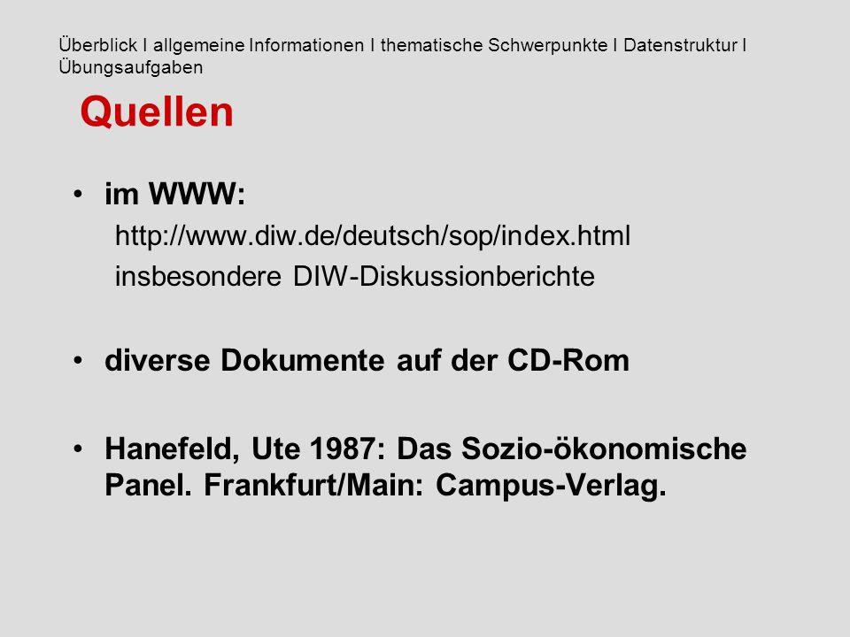 Quellen im WWW: http://www.diw.de/deutsch/sop/index.html insbesondere DIW-Diskussionberichte diverse Dokumente auf der CD-Rom Hanefeld, Ute 1987: Das Sozio-ökonomische Panel.