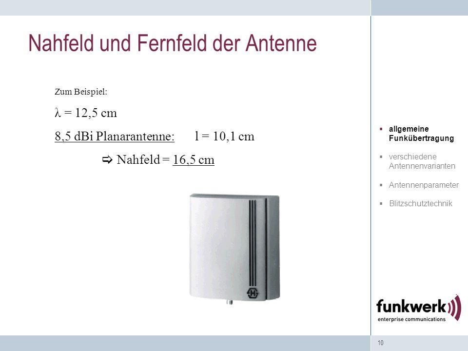 10 Zum Beispiel: λ = 12,5 cm 8,5 dBi Planarantenne: l = 10,1 cm Nahfeld = 16,5 cm Nahfeld und Fernfeld der Antenne allgemeine Funkübertragung verschie