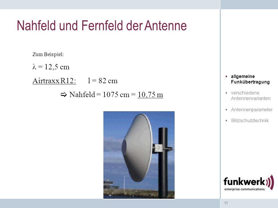 11 Zum Beispiel: λ = 12,5 cm Airtraxx R12: l = 82 cm Nahfeld = 1075 cm = 10,75 m Nahfeld und Fernfeld der Antenne allgemeine Funkübertragung verschied