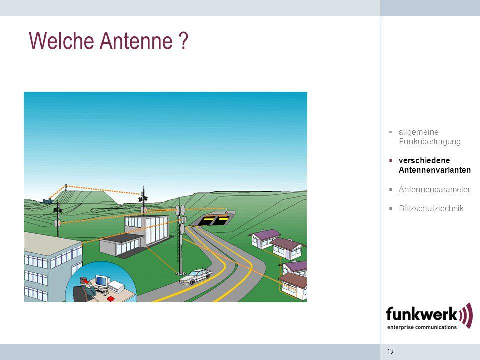 13 Welche Antenne ? allgemeine Funkübertragung verschiedene Antennenvarianten Antennenparameter Blitzschutztechnik