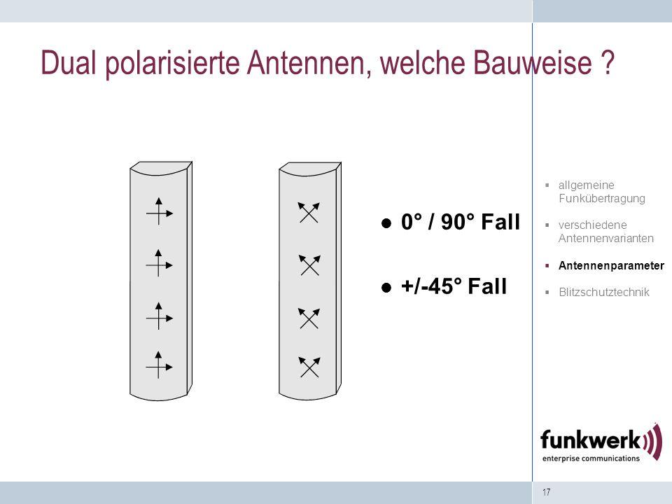 17 0° / 90° Fall +/-45° Fall Dual polarisierte Antennen, welche Bauweise ? allgemeine Funkübertragung verschiedene Antennenvarianten Antennenparameter