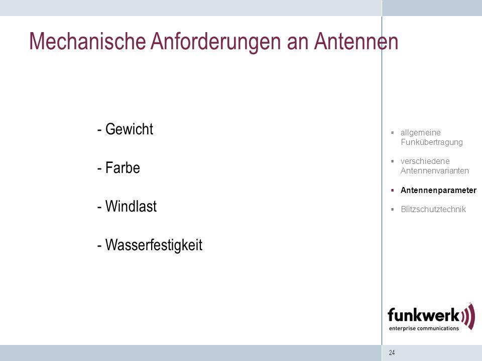 24 Mechanische Anforderungen an Antennen - Gewicht - Farbe - Windlast - Wasserfestigkeit allgemeine Funkübertragung verschiedene Antennenvarianten Ant