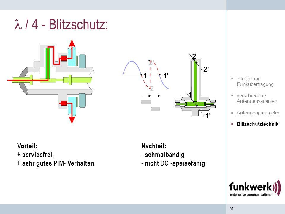 37 / 4 - Blitzschutz: 2' 1 2 1' 1 2' 2 1' Vorteil: + servicefrei, + sehr gutes PIM- Verhalten Nachteil: - schmalbandig - nicht DC -speisefähig allgeme