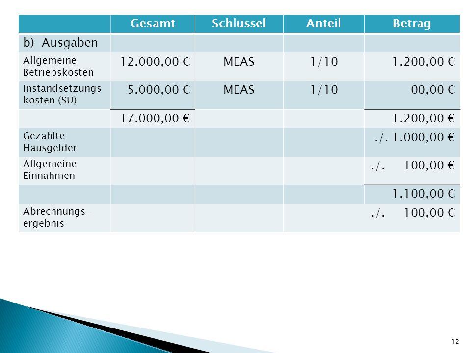 GesamtSchlüsselAnteilBetrag b) Ausgaben Allgemeine Betriebskosten 12.000,00 MEAS1/101.200,00 Instandsetzungs kosten (SU) 5.000,00 MEAS1/1000,00 17.000