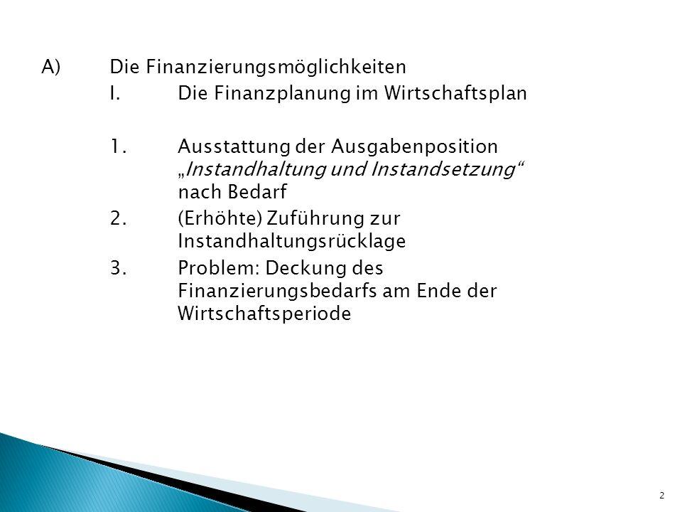 A)Die Finanzierungsmöglichkeiten I.Die Finanzplanung im Wirtschaftsplan 1.Ausstattung der AusgabenpositionInstandhaltung und Instandsetzung nach Bedar