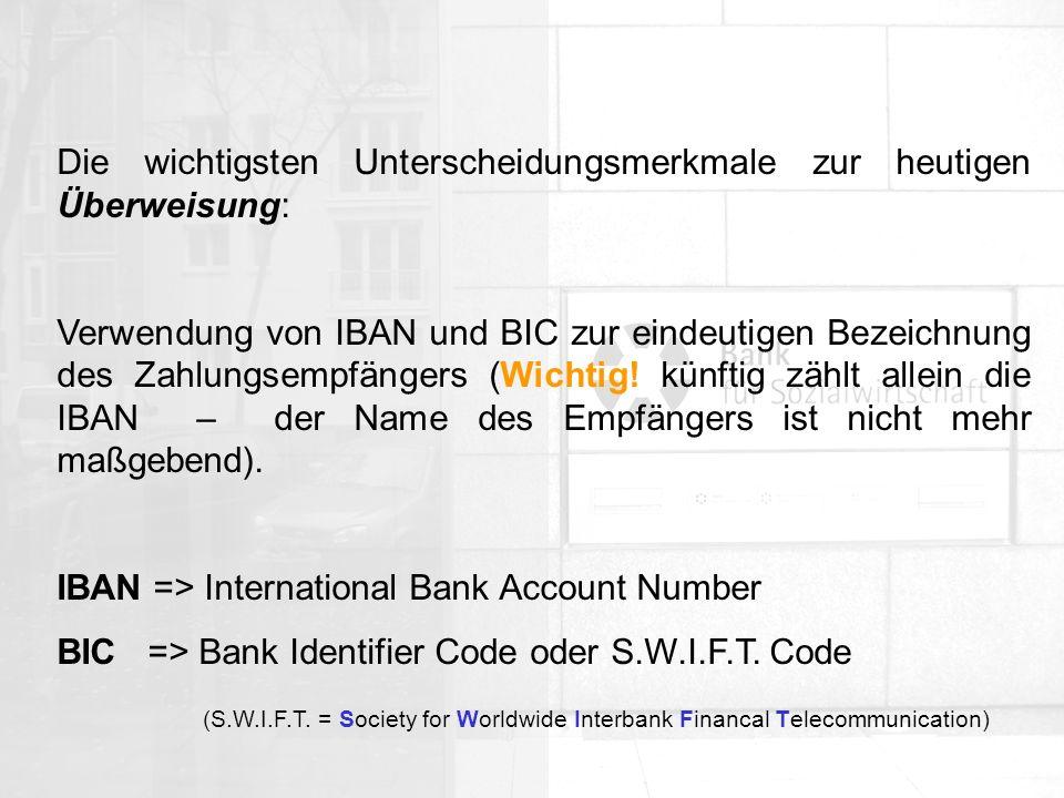 Allgemeine Organisation IBAN-Beispiel: DE 73 37020500 0008001900 DE PP BBBBBBBB KKKKKKKKKK (eine deutsche IBAN hat immer exakt 22 Stellen) DELänderkennzeichen PPzweistellige Prüfziffer BBBBBBBBdie 8-stellige deutsche Bankleitzahl KKKKKKKKKKdie 10-stellige Kontonummer - kürzere Kontonummern werden mit führenden Nullen auf 10 Stellen erweitert.