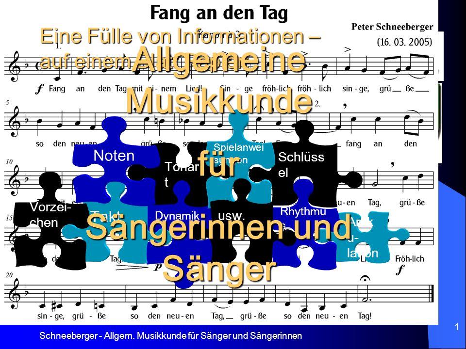 Schneeberger - Allgem. Musikkunde für Sänger und Sängerinnen 1 Eine Fülle von Informationen – auf einem Blatt Papier: Schlüss el Artik u- lation Rhyth