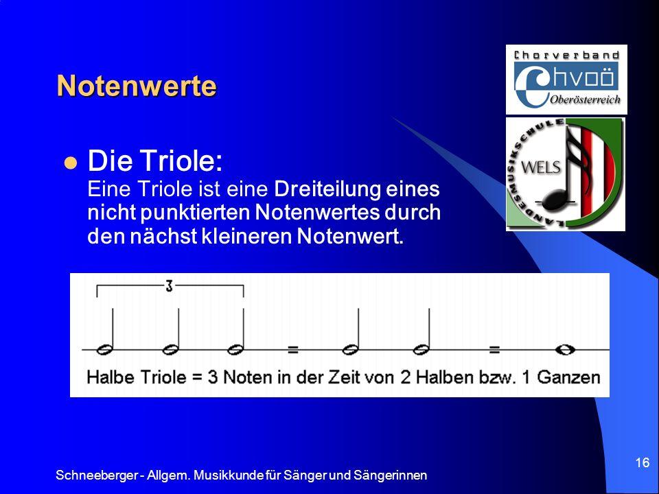 Schneeberger - Allgem. Musikkunde für Sänger und Sängerinnen 16 Notenwerte Die Triole: Eine Triole ist eine Dreiteilung eines nicht punktierten Notenw
