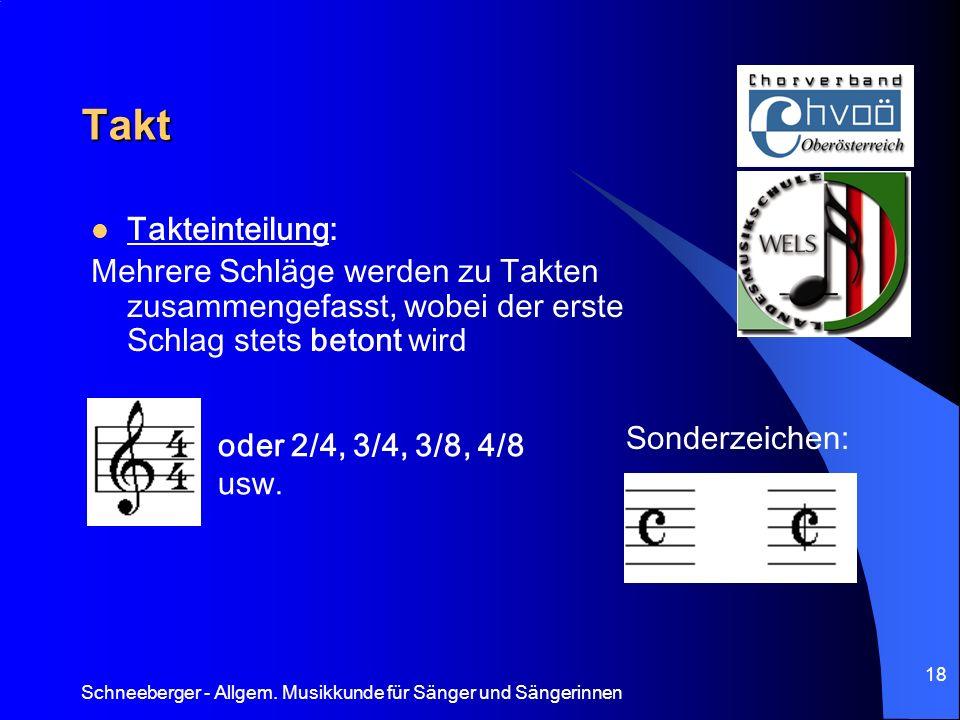 Schneeberger - Allgem. Musikkunde für Sänger und Sängerinnen 18 Takt Takteinteilung: Mehrere Schläge werden zu Takten zusammengefasst, wobei der erste