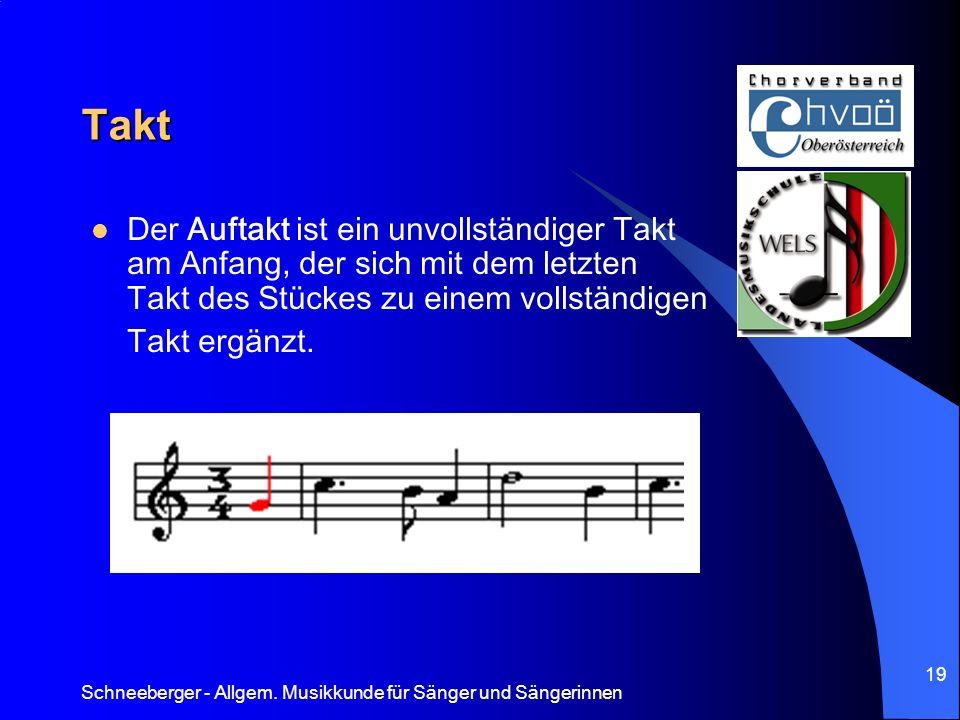 Schneeberger - Allgem. Musikkunde für Sänger und Sängerinnen 19 Takt Der Auftakt ist ein unvollständiger Takt am Anfang, der sich mit dem letzten Takt