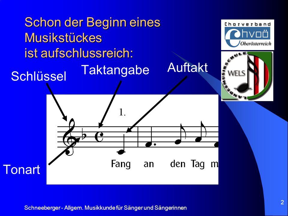 Schneeberger - Allgem. Musikkunde für Sänger und Sängerinnen 2 Schon der Beginn eines Musikstückes ist aufschlussreich: Schlüssel Tonart Taktangabe Au