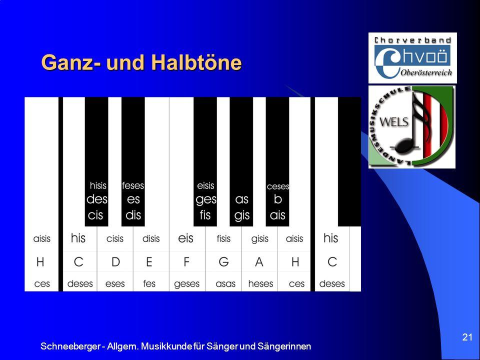 Schneeberger - Allgem. Musikkunde für Sänger und Sängerinnen 21 Ganz- und Halbtöne