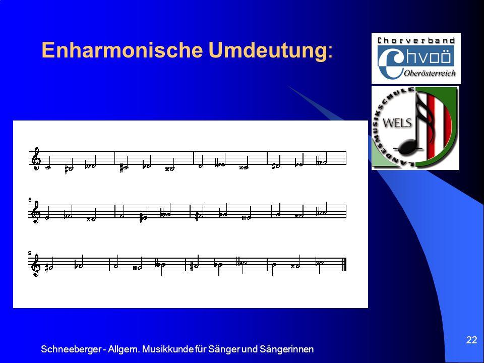 Schneeberger - Allgem. Musikkunde für Sänger und Sängerinnen 22 Enharmonische Umdeutung: