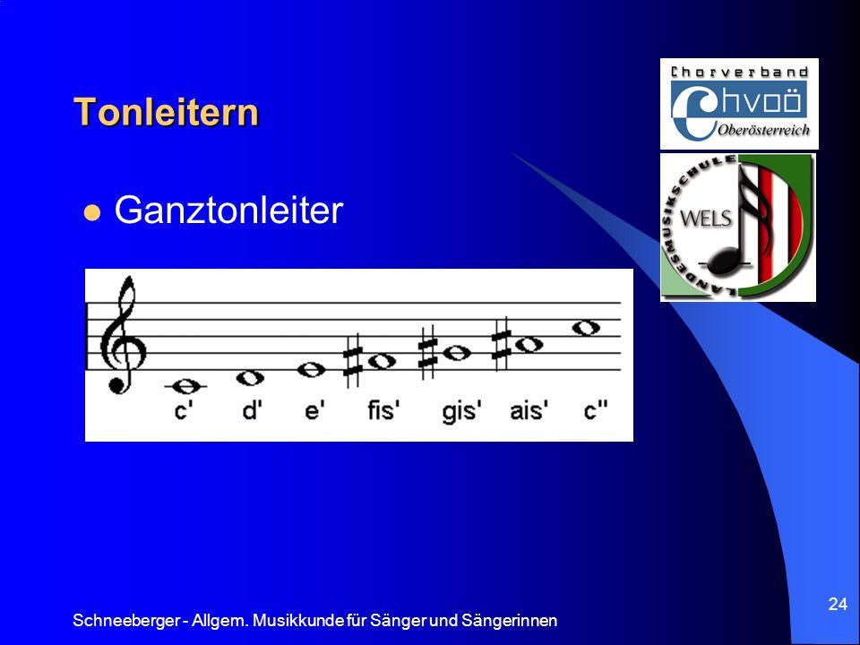 Schneeberger - Allgem. Musikkunde für Sänger und Sängerinnen 24 Tonleitern Ganztonleiter