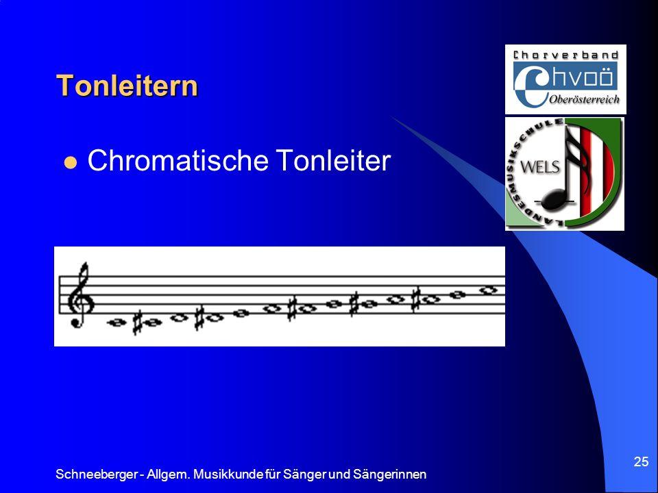 Schneeberger - Allgem. Musikkunde für Sänger und Sängerinnen 25 Tonleitern Chromatische Tonleiter
